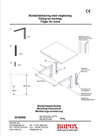 Ropox Bordpladebæring med vægbeslag