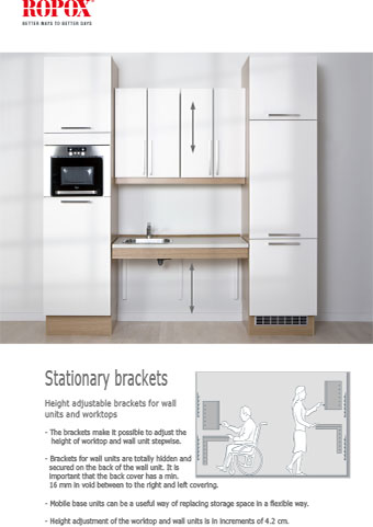 Data leaflet Ropox Kitchen Stationary brackets for worktops and upper cabinets