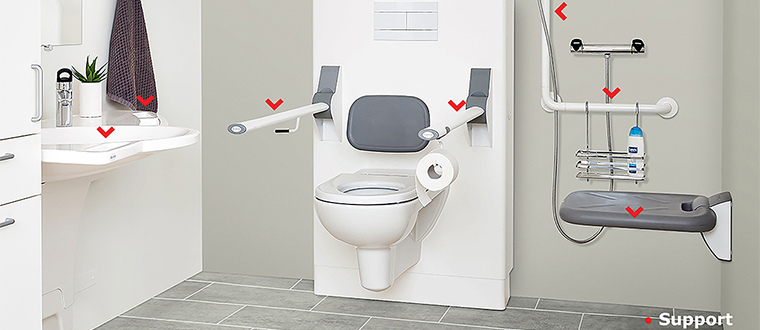 Shower seat / Bruseklapsæde support points