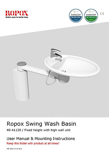 Ropox user & mounting manual - Swing Washbasin fixed height with heigh wall cover