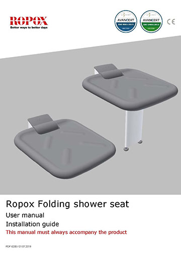 Ropox user & mounting manual - Shower seat with leg
