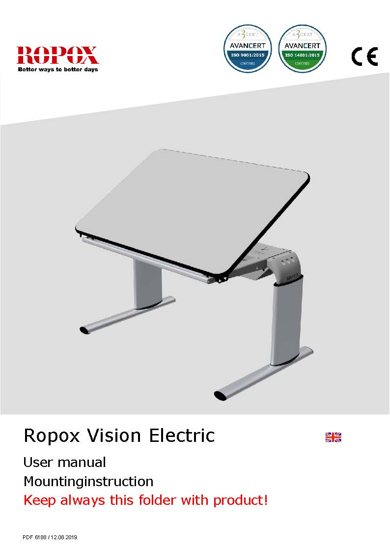 Ropox user & mounting manual - Vision Table electric