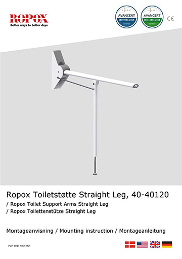 Ropox Installation manual for toilet support arms, straight leg